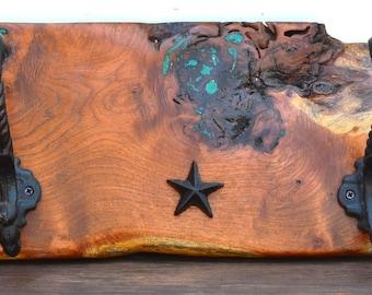 """Mesquite Coat Rack-19""""x8""""x1""""-Genuine Turquoise Inlay"""