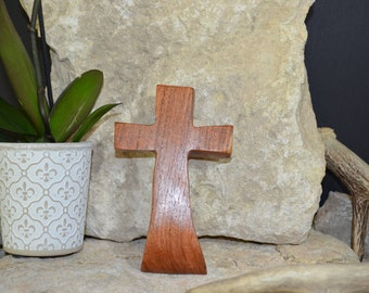Solid Wood Wall Cross; Texas Mesquite; Unique;  Back to School;Prayer Cross;Wedding Favor; Bridesmaid Gift;FREE GROUND SHIPPING; cc5-3072220