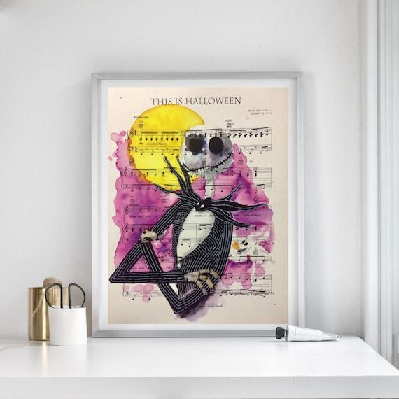 Nightmare Before Christmas Sheet Music Art Print Jack Skellington Wall Art Wall Decor Housewarming Birthday Christmas Anniversary Gift