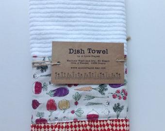 Dish Towel / Kitchen Bar Mop Towel / Farm Kitchen / Home Grown Vegetables in Cream