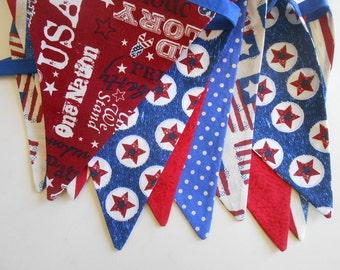 Fourth of July Party Banner/ Picnic Barbecue Banner/ READY to SHIP / Red, White and Blue Patriotic Banner/ Photo Prop / Patriotic Subway Art