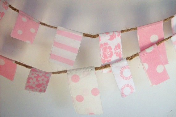 Scrappy Garland/ Party Banner / Photo Prop in Pink and White/ Baby Shower Decoration/ Baby Girl Nursery Decor
