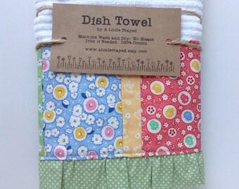 Dish Towel / Kitchen Bar Mop Towel / Vintage-inspired Patchwork Kitchen Towel in Pastels