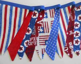 Stars and Stripes Banner/ 4th of July Bunting/Patriotic Banner/ Red, White and Blue Banner/ Patriotic Photo Prop / Patriotic Subway Art Garl