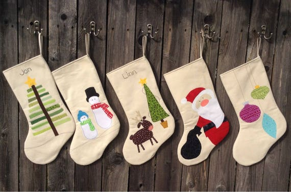 Personalized Christmas Stocking   Children Christmas Stockings in  Snowmen,Christmas Tree, Reindeer and Nativity   Large Christmas Stocking