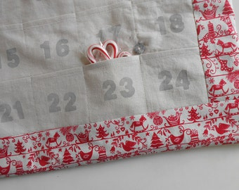 Scandi Christmas Advent Calendar in RED Linen / Personalized Christmas Countdown Calendar with Pockets