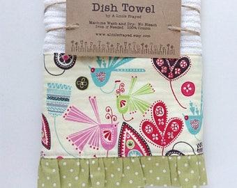 Dish Towel / Kitchen Bar Mop Towel / Funky Birds Dish Towel