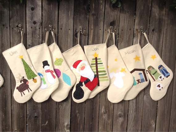 Personalized Christmas Stocking   Children Christmas Stockings in  Snowmen,Christmas Tree, Reindeer and Nativity   Large Chris