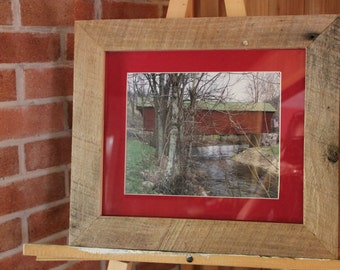 "Scenic Covered Bridge w/ American flag print.  From the ""Appalachian Scenic"" Series"