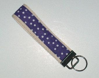 Purple White Polka Dots on Ecru, Wristlet Key Fob, Key Chain, Key Ring