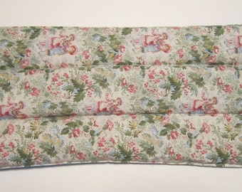"Old Fashioned Print Garden Kids, Flax Filled Heat Pack, Heat Pad, Microwaveable, Cold Pack, 14"" x 7"", Reversible"