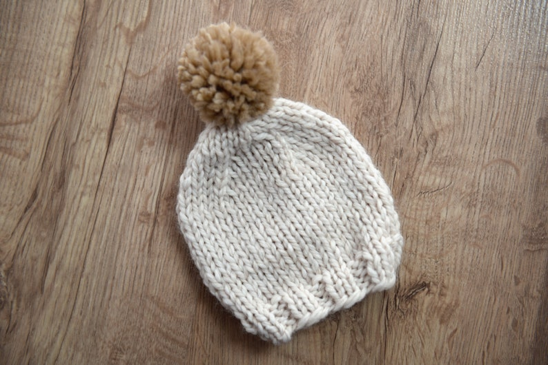 6503d24fcbb RTS Newborn pom pom hat hand knit off white and brown winter