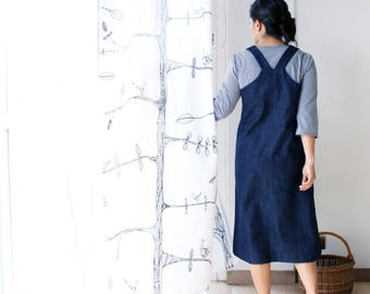 Woman overall dress, dungarees dress, dungarees woman, denim dress, Mother's day, Japanese style clothing, plus size, sustainable clothing