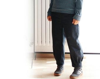 Women clothing, women trousers, women pants, monpe pants, Japanese style pants, moleskin pants, denim pants, cropped pants, made in Italy
