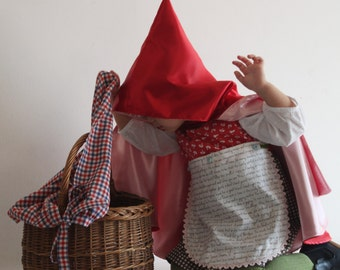 Little red riding hood costume, girl birthday theme costumes, size 3 years, carnival costume, carnival 2018, made in Italy, ready to ship
