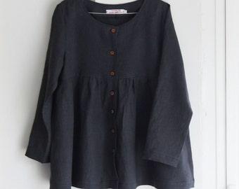 Linen clothing, women linen clothing, women linen jacket, linen tunic, button up linen shirt, linen buttoned shirt, long sleeve linen shirt