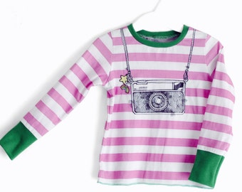 Baby girl t-shirt, baby girls clothing, striped t-shirts, camera t-shirts, instamatic t-shirts, new baby, striped tee, size 6 months, Italy