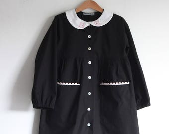Back to school dress, girls smock, school dress, preschool dress, elementary school dress. Cotton smock. Sustainable clothing, made in Italy