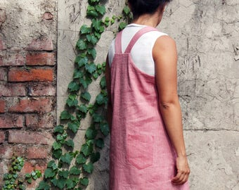 Woman overall dress, dungarees dress, dungarees woman, linen dress, Mother's day, Japanese style clothing, plus size, sustainable clothing