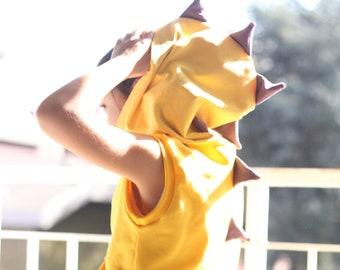 Yellow dinosaur hoodie, carnival costume, children costume, dinosaur costume, dinosaur sweatshirt, dinosaur vest, kids hoodies