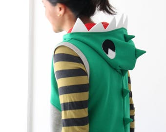 Dinosaur adult, dinosaur costume, vest hoodie adult, dinosaur hoodie, dinosaur jacket, dinosaur cosplay, photo prop, Halloween, birthday
