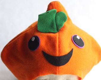 Pumpkin hat for kids and teens. Pumpkin head. Made from felt. Halloween costumes. Kawaii