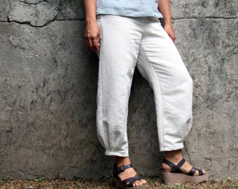 Women linen pants, women linen trousers, women linen clothing, monpe pants, wide leg trousers, cropped pants, Japanese clothing , ethical