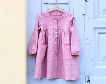 Girl's smock dress. Button up. Linen. Made in Italy.