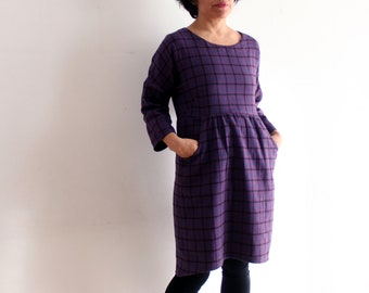 Woman dress loose fitting, woman clothing, woman dresses, spring dress, fall dress, woman casual dress, ethical clothing, warm cotton dress