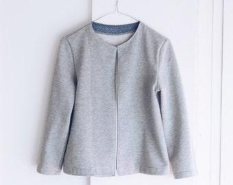 Women clothing, women jacket, women collarless jacket, organic cotton fleece, sustainable clothing, made in Italy, hook and eye closure