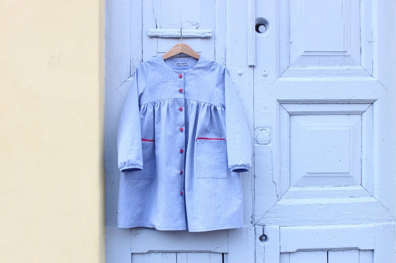 Girl's smock dress. Button up. 100% cotton. GOTS certified image 0
