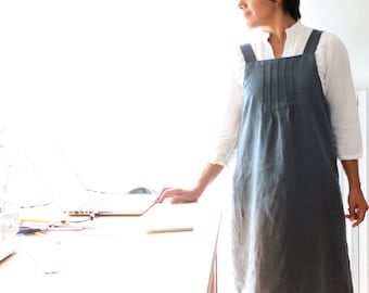 Woman overall dress, linen dress, dungarees dress, dungarees woman, smocked dress, Mother's day, plus size, Japanese style clothing, linen