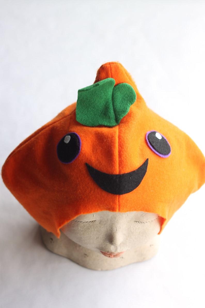 Pumpkin hat for kids and teens. Pumpkin head. Made from felt. image 1