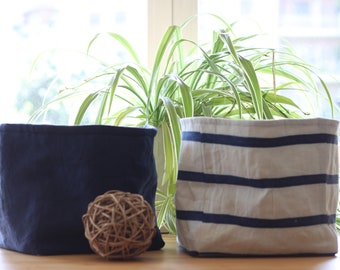 Home decor. Fabric basket. Storage and organizer bin. Washable, linen and denim. Made in Italy.