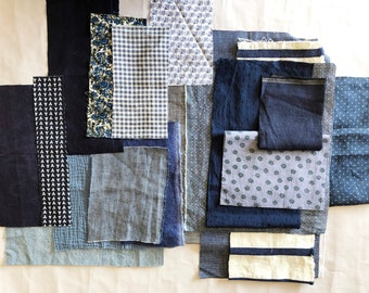 Fabric sewing bundle. Linen and cotton fabric scraps.  Fabric remnants.
