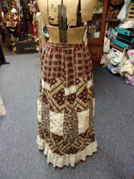 Calico Quilted Boho Hippie Vintage Skirt By Renee