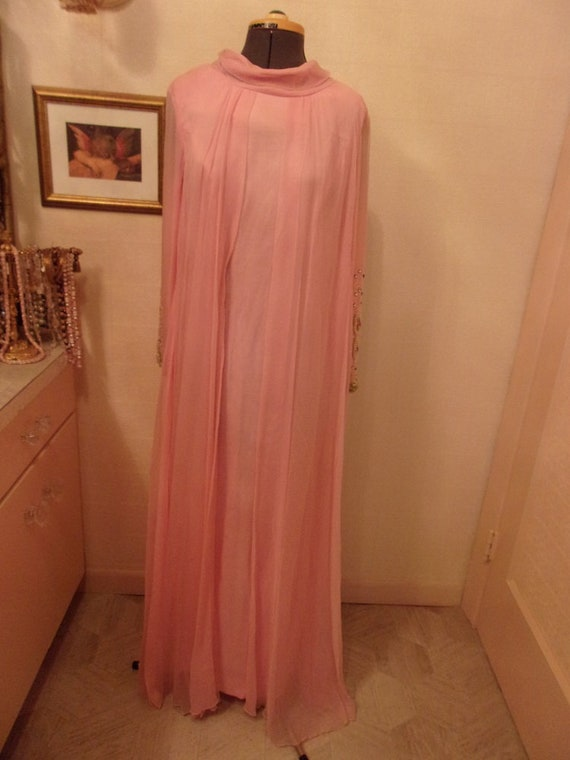 Peachy Pink 1960's Gown With Beaded Sleeves