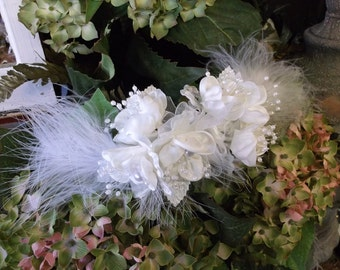 White Flowered Bridal Feathered Hair Barrette Head Piece