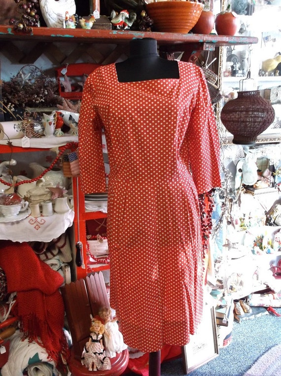 1940's Red And White Polka Dot Dress