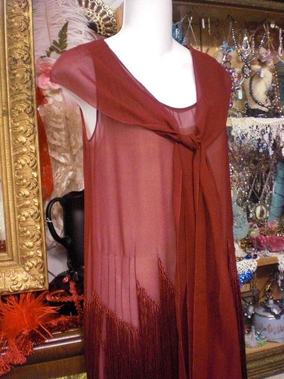 Burgandy Flapper Dress 1920s With Fringe