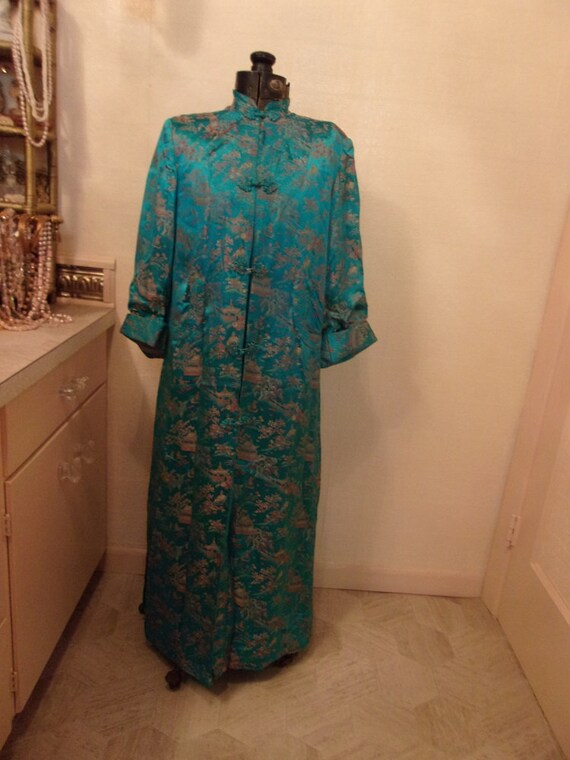 Blue Silk 1940's Shanghai House Coat Smoking Jacke