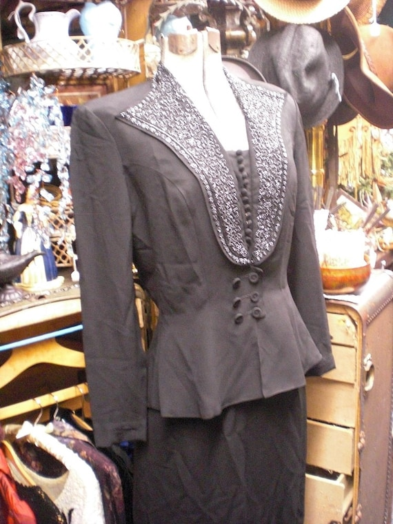 Black Beaded Two Piece 1940s Top and Skirt
