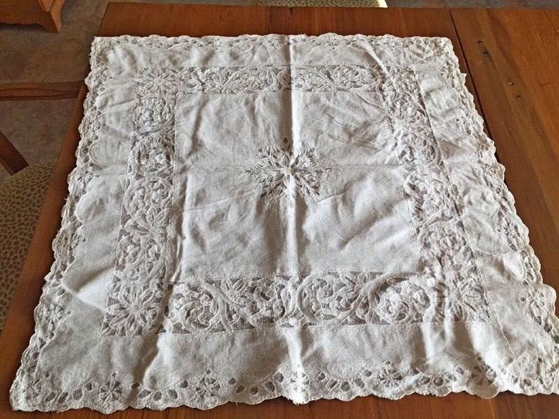 Bedspreads & Coverlets Antiques Pristine Large Antique Fine French Lace And Net Panel
