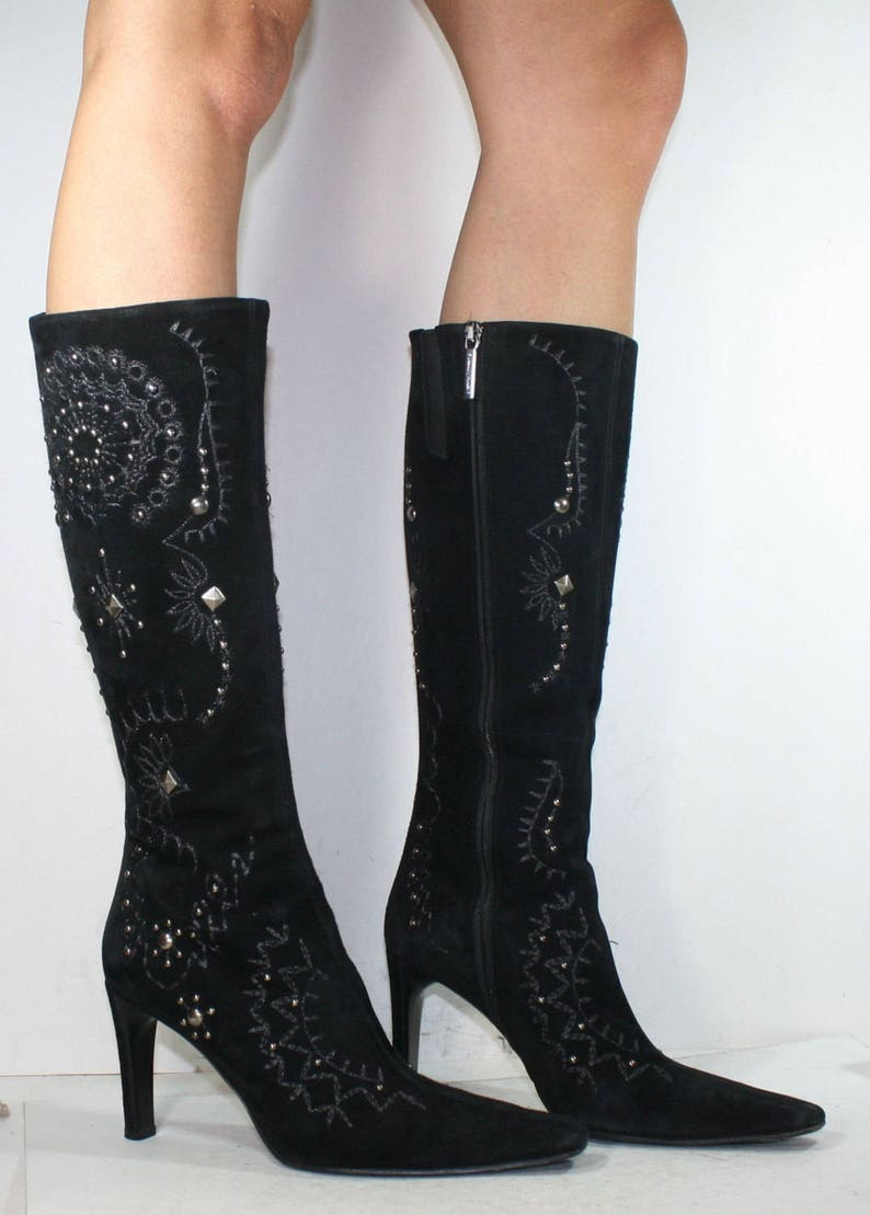 Vintage Suede Leather Italian High Heel Black Studded Boots 37 American 7