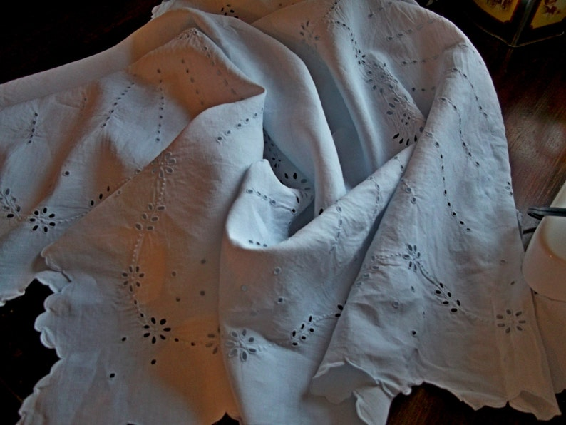 OOAK Delightful Antique Hand Embroidered Linen PanelDrapeCurtain Hand Dyed