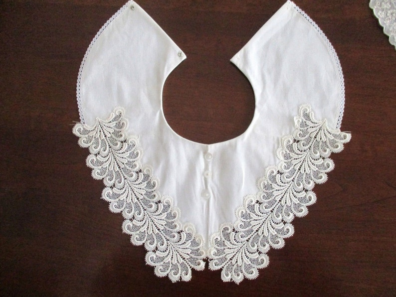 Set of Two Antique Vintage Beautiful Handmade Lace Embroidered Collars