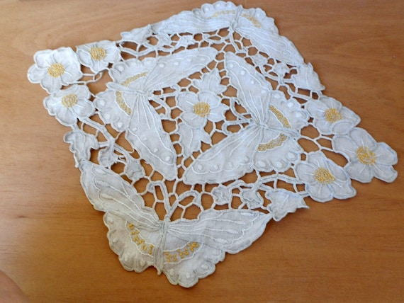 Antique Vintage Fireplace Ecru Linen MantelTrim Handmade and Embroidered Lace