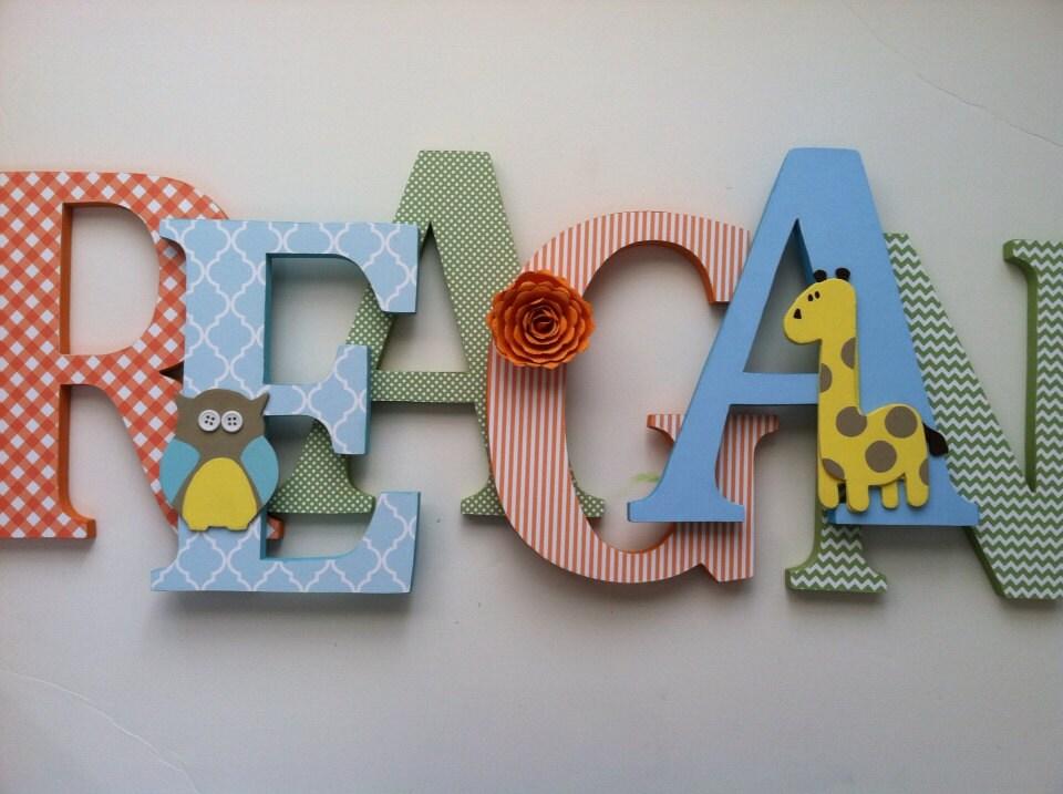 Eule und giraffe holzbuchstaben kinderzimmer dekor for Holzbuchstaben kinderzimmer