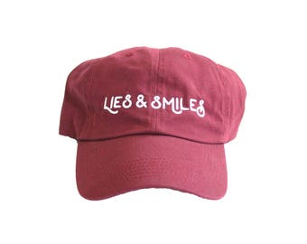 4ca5378a76c SALE    Lies and Smiles Crimson and White Embroidered Dad hat    cotton