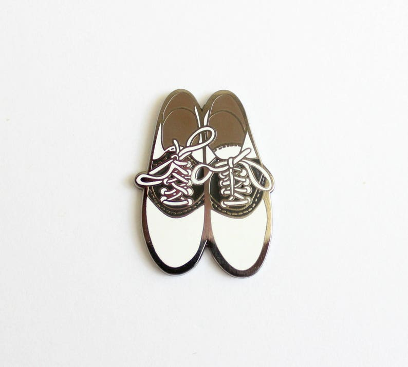 Saddle Shoes Lapel Pin  1.25 hard enamel gift for her image 0